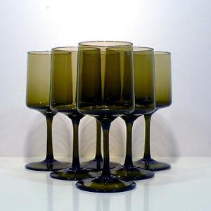 Gruppo di 6 bicchieri calici vetro murano verde salvia anni 70 vintage v351