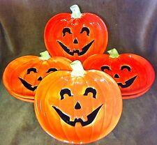 Fitz & Floyd 1987 HALLOWEEN Six Pumpkin Canape Snack Plates