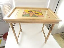 ANTIQUE WOODEN BUTLER FOLDING TABLE WITH SOUTHWEST THEME