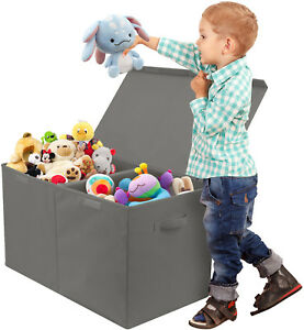 Toy Chest w/ Flip-Top Lid, Kids Collapsible Storage for Nursery & Playroom- Gray