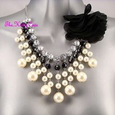 Pearl Rhodium Plated Statement Costume Necklaces & Pendants