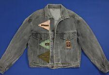 Over up giacca jeans jacket vintage L giubbino boyfriend denim retro T4296