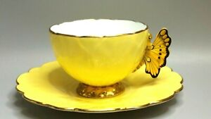 Vintage AYNSLEY England Cup & Saucer Set~Butterfly Handle on Yellow w/Gold Trim
