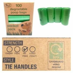 DEGRADABLE Tidyz Dog Poo Bags with Tie Handle Doggy Poop Bags Green Strong Large