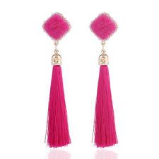 Elegant Women Fur Ball PomPom Tassel Fringe Dangle Earrings Ear Stud Jewelry New
