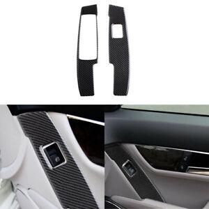 Carbon Fiber Car Window Switch Button Frame Trim For Benz C Class W204 2007-2013