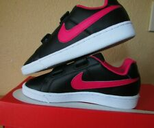 NIKE COURT ROYALE (PSV) BLACK-RUSH PINK-WHITE size.- 1Y Brand New MSRP.- $40