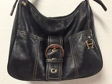 Etienne Aigner ladies handbag pebbled leather black faux buckle snap close H8