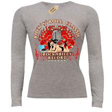 Rock n Roll Classic T-Shirt Rockabilly record ladies long sleeve