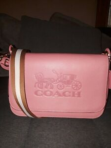 Coach Jes Crossbody Messenger Bag With Coach Logo in Classic Bright Coral Pink