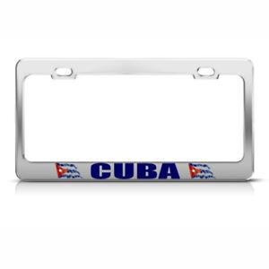 Cuba Cuban Flag Steel Metal License Plate Frame Car Auto Tag Holder