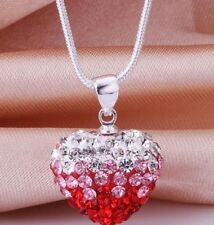 20pcs/lot RED micro Gradient crystal heart shamballa necklace chain pendant