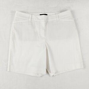 Talbots Womens Chino Shorts Size 6 White Cotton Blend Flat Front Slash Pockets