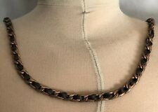 VINTAGE COOKIE LEE COPPER NECK CHAIN WITH SATIN WOVEN RIBBON 35.5 INCHES