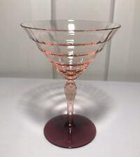 Vintage Art Deco Pink Peach Cocktail Martini Stem Glass Amethyst Foot