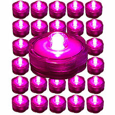 PINK ~ 24 Pack Submersible Waterproof Battery LED Tea Light ~ Wedding Decoration