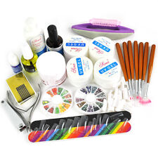 Professional Nail Art Acrylic Primer Powder Liquid Tips Practice Tool Full Kit