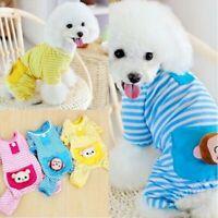 Pet Dogs Pajamas Cotton Stripe  Jumpsuit Clothes Costume Puppy Sleepwear Apparel