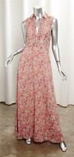 SUPERTRASH Womens Peach Chiffon Floral Sleeveless Maxi Shirt Dress 34/XS NEW