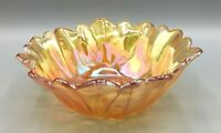 Vintage Indiana Glass Iridescent Amber Lily Pons Carnival Glass Bowl