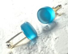 Gin Cuff Links from Recycled Bombay Sapphire Bottle - Upcycled Blue Glass