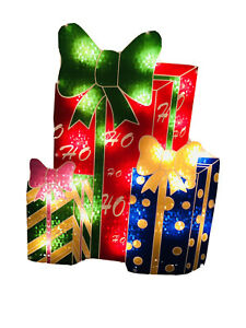 16 In L 13 In W Prelit Lighted Gift Boxes Window Decoration