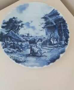 Delft Blauw Display  Plate  - Sheep Shearing - Farming Scene