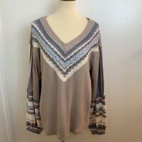 Free People Womens Pullover Sweater Pebble Tan Viscose Blend Long Sleeve M New
