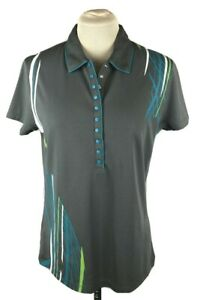 PGA Tour Women's Golf Shirt Med Gray Blue Polo Half Snap Collard Short Slv EUC