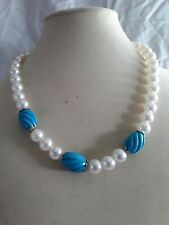 """Simulated Pearl And Turquoise Neclace 17"""" Long"""