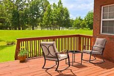 3 PCS Outdoor Rocking Chairs Bistro Set Steel Patio Furniture W/ Cushioned,Brown