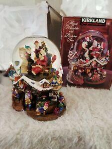 Kirkland Musical Christmas Santa Waterglobe With Revolving Base Workshop (GC1)