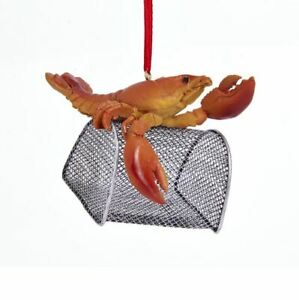 "J8410 3.5"" Red Lobster w/Wire Cage Ornament Ocean Beach Nautical Sea Shore"
