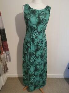 Vintage 1980s Size 10 Green Floral Maxi Dress Evening Dress Cruise Wedding