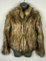 BNWT WOMENS FASHION NOVA NUDE/BROWN HOOK&EYE FAUX FUR FLUFFY COAT JACKET MEDIUM