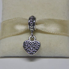 New Authentic Pandora 791023CZ Clear Pave Heart Dangle Charm Box Included
