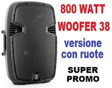 CASSA ATTIVA AMPLIFICATA DIFFUSORE full-range 800W WOOFER 38 CM in abs 2 VIE