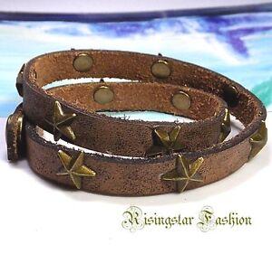 Men's Cool Stars Theme Cowboys Characters Double Wrap Leather Bracelet Wristband