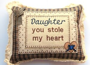 Daughter you stole my heart blue & Cream Check Sentimental Cushion 21 CM