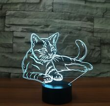 3D Cute Cat Night Light 7 Color Change LED Desk Lamp Touch Room Decor Gift