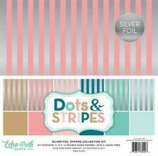 Silver Foil Stripes Pink Green Teal Tan Echo Park Scrapbook Page Kit 12 x 12