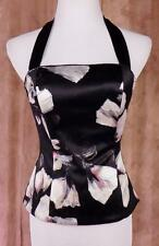 WHITE HOUSE BLACK MARKET~NWT~Sz 2~Silk~Lined~Black with Floral Print~Bustier~Top