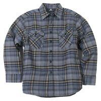 YAGO Men's Plaid Flannel Button Up Casual Shirt Jacket Grey/Beige 14D (S-5XL)