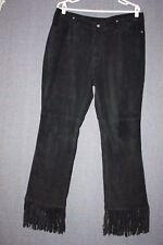 FUBU Black 100% Leather Suede Pants Fringe Leg Bottoms SZ XL (36 X 31 total)