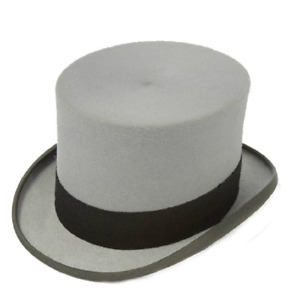 "Christys' Topper Wool Felt Top Hat - 5.25"" (approx) crown  GREY"