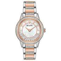 Bulova Women's Quartz Swarovski Crystal Accents Two-Tone 32mm Watch 98L246