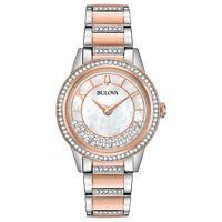 Bulova Women's Quartz Swarovski Crystal Accents Two-Tone 32mm Watch 98L246