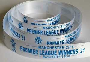 Man City League Winners 21 Satin Ribbon 25mm