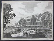 1650ca PAESAGGIO Gabriel Perelle Drevet acquaforte palazzo figure donne uomini
