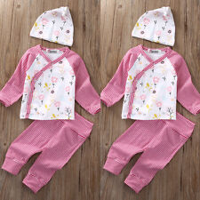 Newborn Toddler Baby Girls Long Sleeve Kimono Tops Pants Hat Outfits Set Clothes